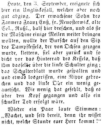 JPG Scan of                               Mennonitische Rundschau story from Sept                               15/1886 describing farm accident involving                               Franz Ens Jr.