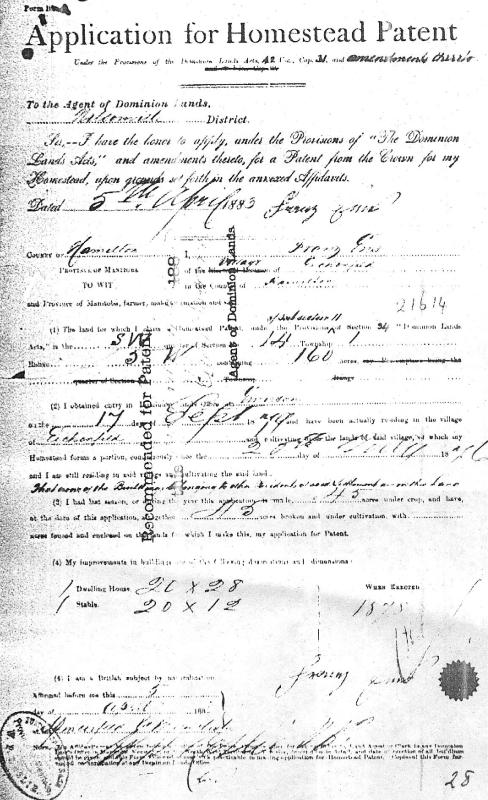JPG pic of Land                           Deed Application (1883/04/05) [CLICK FOR                           LARGER]