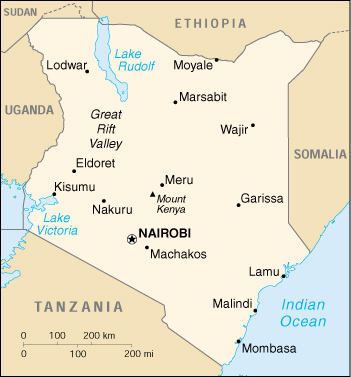 JPEG pic of map of Kenya